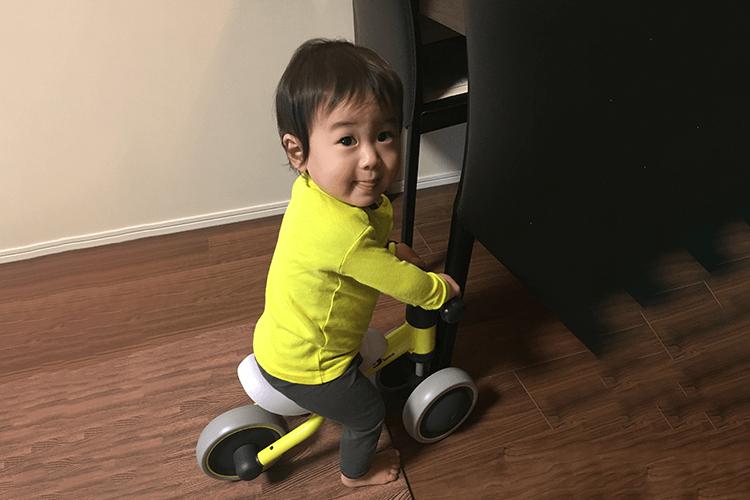歩く前のトレーニングバイクチャレンジ!|はっちゃん(当時1才)
