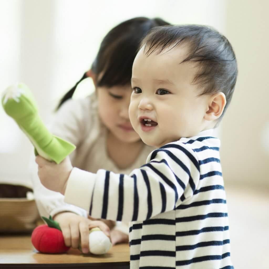 フェルトの野菜の知育玩具で遊ぶ子供