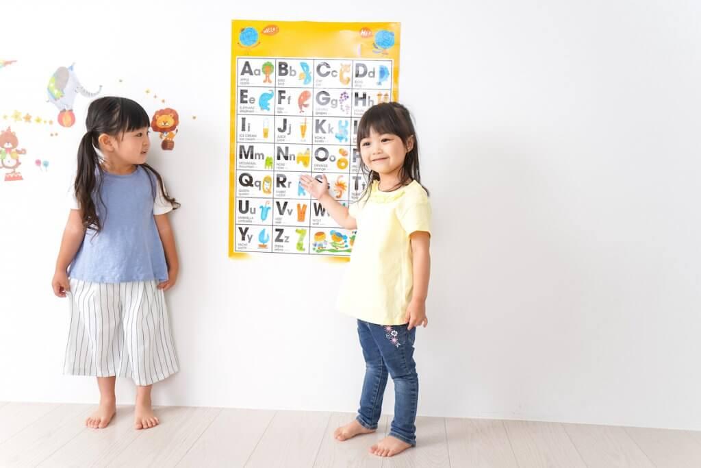 アルファベットのポスターの前に立つ子供たち